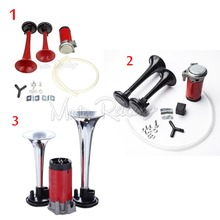 Motorcycle Loud Dual Trumpet Air Horn 12V 135dB Moto Powerful Air Horns Red/Black/Chrome Compressor Kit RV Train Car Truck Boat