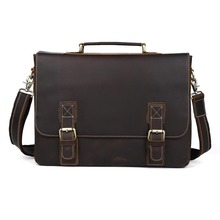 TIDING Large Leather Briefcases 16 inch Laptop Bag Cowhide Leather Vintage Style Cross body Shoulder Bag P8069(China)
