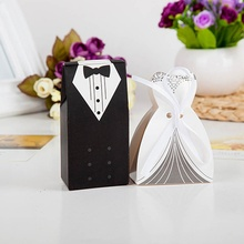 Brand New 50 Pcs Tuxedo Dress Groom Bridal Wedding Party Favor Gift Ribbon Candy Boxes