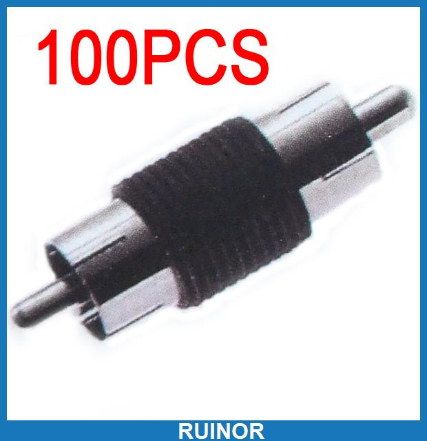 100pc Copper RCA to RCA Male Plug Speaker Cable Adapter<br>