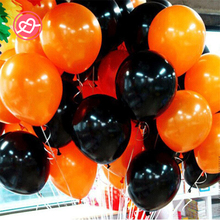 New 10 Pcs/set 10 inch Halloween Balloons Black/Orange Latex Balloons Party Wedding Halloween Decoration Supplies Child Toys(China)