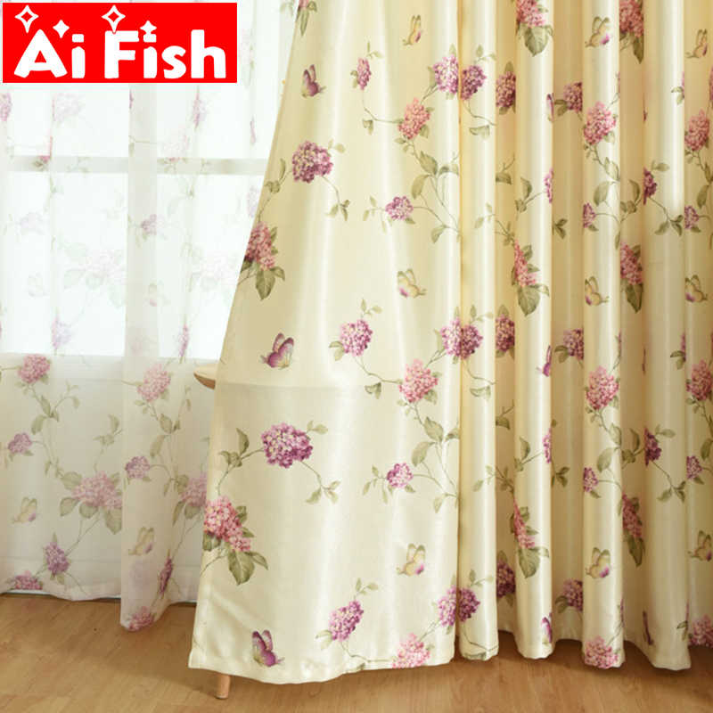 Romantic Butterfly Flowers Light Filtering Bedroom Curtain Tulle Rustic Print Fabric Cortinado For Living Room Windows MY114-40