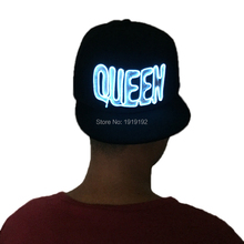 Hot sales Flashing EL Hat EL Wire LED Hip hop Caps Glow Party Supplies Lighting Novelty Gift Bright Festival Girl Hat Gift