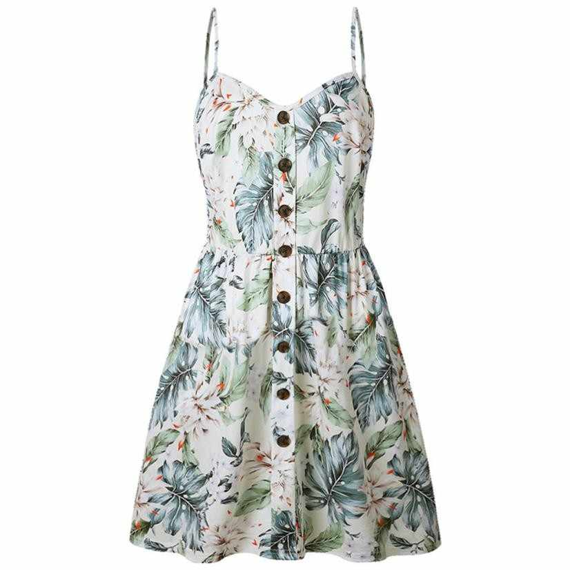 YOUYEDIAN Women Sexy Spaghetti Strap Floral Printed Dresses Button Pocket  Cotton V-Neck Sundress Flower 3d4db25ef457