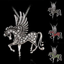2017 horse necklace New mix color Crystal Pegasus Fly Horse Pendant Ribbon Rope Lobster Clasp Necklace Costume Jewelry