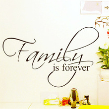 Family is forever home decor creative quote wall decals 8068 decorative adesivo de parede removable vinyl wall stickers(China)