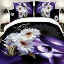 Purple print 3d bedding sets queen size bedclothes duvet cover set
