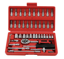 "Promotion! 46pc Spanner Socket Set 1/4"" Car Repair Tool Ratchet Wrench Set Cr-v hand tools Combination Bit Set Tool Kit tool box"