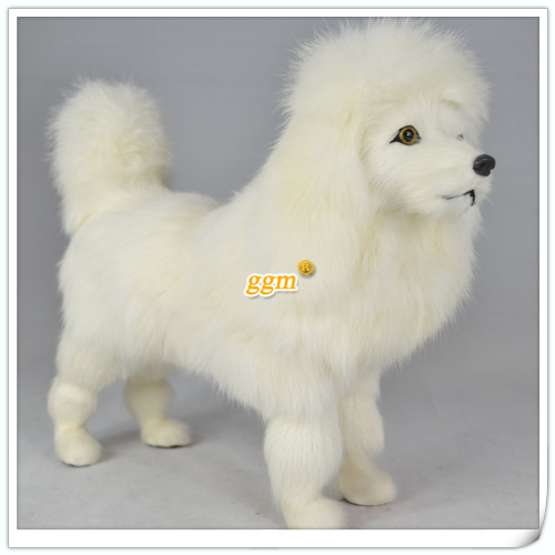 simulaiton standing poodle dog toy genuine leather fabric toy poodles doll about 28x9x22cm<br><br>Aliexpress