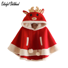 Cartoon red elk design fleece cloak baby Kids Jacket thick Girls outwear winter Clothes Children Clothing Xmas Costume 2-10Yrs(China)