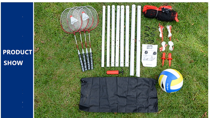 HTB1dd5ehqigSKJjSsppq6ybnpXaZ - Sports 2 in 1 recreational badminto and volleyball combo set :net poles,ball,rackets &shuttlecock -portable euqipment for lawn