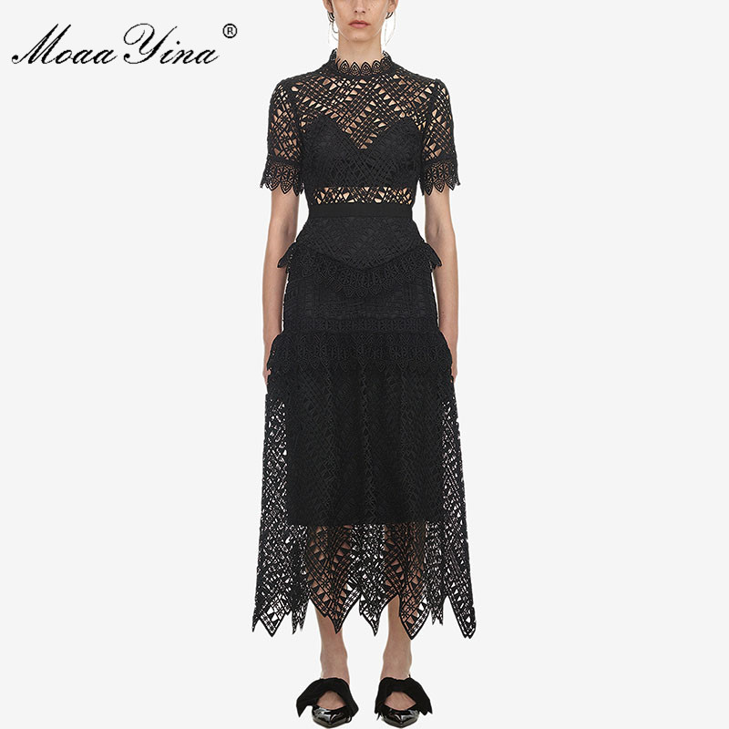 MoaaYina Spring Summer New arrive Women's Black Lace short Sleeve Dress high quality