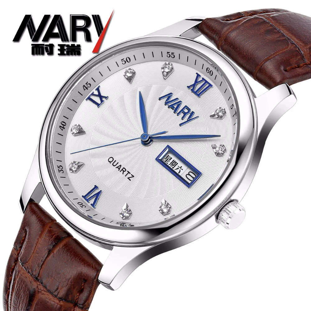 Montre Homme Nary Luxury Men Watches Super Soft Leather Clock Couples Date Day Calendar Waterproof Quartz Wrist Watches For Men<br>