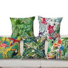 45X45CM Bird Plant Floral Cushion Cover Fashion High Quality Cotton Linen Tropical plant Flowers Grass Decorative Throw Pillow(China)