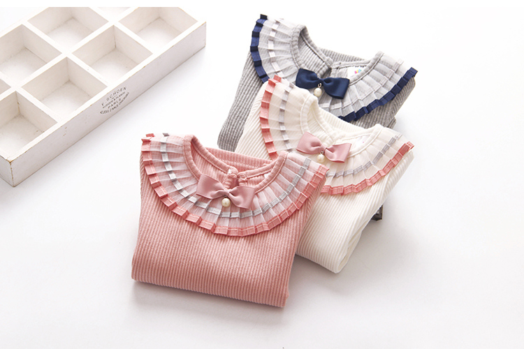 2018 Spring Autumn 100% Cotton White Grey Pink Solid Color Long Sleeve Pleated Turn-Down Collar Neck T Shirt For Girls 10 Years (10)