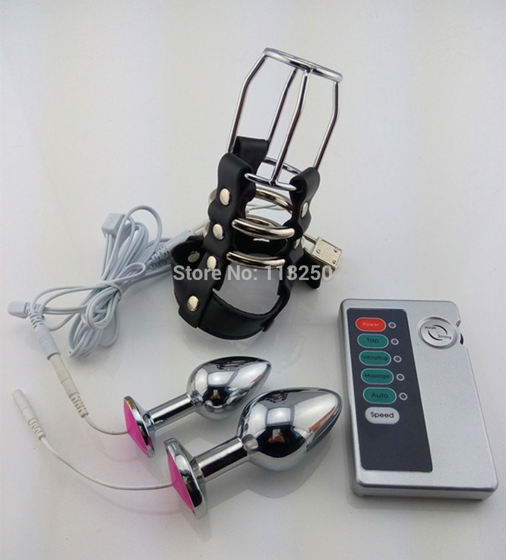 Multi function electric shock set dual anal plug electro stimulation leather chastity cage metal butt medical themed sex toys<br>