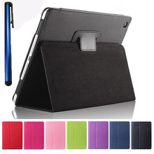 Lichi PU Leather Book Case for New iPad 9.7 2017 Release A1822 Model Tablet Folio Stand Smart Cases +stylus pen