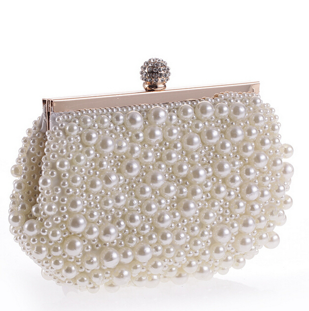 Both Side Beaded Womens Shell Simulation Pearl Clutch Bag Full Beaded Evening Bag. Wedding Pearl Diamond Clutches Gold Metal<br><br>Aliexpress