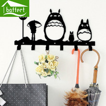 Totoro Creative Metal Coat Hooks for Bag Keys Wall Decorative for Hooks Cap Rack Clothes Cartoon Hangers 6 Hooks