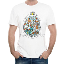 2017 Funny Doodle Design The EggOcentric T-Shirt Mens Cartoon Chicken Egg Printed T Shirt Summer Hispter Novelty Tee Shirt Tops