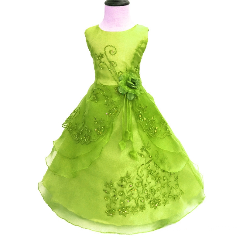 Free Shipping Low Price Child Party Dress Embroidery Organza Green Kids Evening Gowns Big Size  Flower Girl Dresses For 14 Years<br>