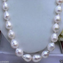"Hot sale new Style >>>>>HUGE SEA AAA+ 12-15 MM WHITE AKOYA BAROQUE PEARL NECKLACE 18""(China)"