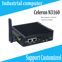 New 2017 Mini PC N3160 better than n3050 2 ethernet ports motherboard rugged mini pc 2 HDM industrial mini pc FANLESS Linux