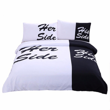 Her Side His Side  Bedding Sets 3pcs 3D Duvet Cover Bed Sheet Pillow Cases Size EU/CN/US Queen King White & Black