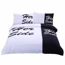 Her Side His Side Bedding Sets 2/3pcs 3D Duvet Cover Bed Sheet Pillow Cases Size EU/CN/US Queen King White & Black(China)