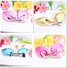 New Design Shiny Leather Rabbit Ears Hairpins Girls Hair Accessories Kids Best Gift Bow Hair Clip