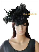 New Arrival.Black sinamay fascinator hat bridal fascinator with feather flowers& 3pcs silk flower for kentucky derby.