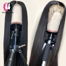 Wigs Human-Hair Lace-Front Pre-Plucked Straight Black Women Mstoxic Brazilian 13x4 Remy