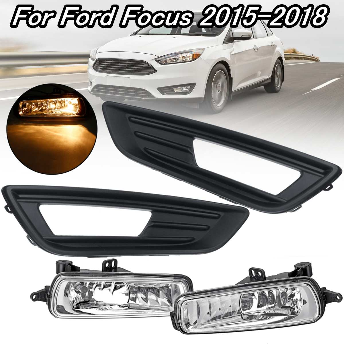 Front Bumper Fog Light Lamp Cover Left Driver Side Fit For Ford Focus 2015-2018