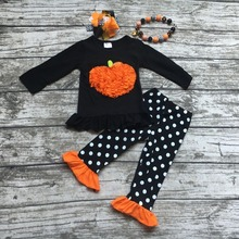 2016Fall Halloween clothes pumpkin polka dot  cute suit boutique clothing ruffles pant long sets with matching and necklace set