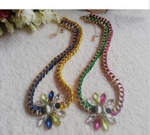 Fashion punk color block woven pattern gem stone knitted chains necklace