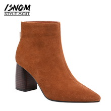 ISNOM Autumn High Heels Boots Women Pointed Toe Ankle Boots Fashion Office Cow Suede Female Shoes Short Plush Winter Footwear