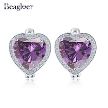 Beagloer Purple Color Heart Design Earrings Silver Color Micro Inlay Cubic Zirconia Stud Earrings For Women Gift CER0183-B