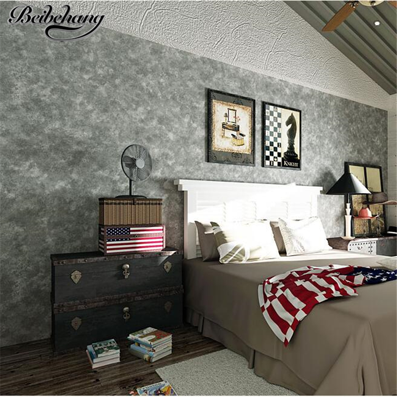 beibehang wallpaper Modern Simple Scandinavian Retro Nonwovens Wallpaper Charcoal Gray Living Room Background Wall paper<br>