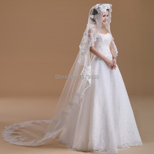 2017 spring new arrival  flower lace decoration  long one-layer bridal veil