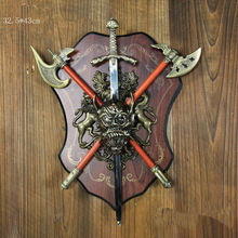 Antique Imitation Axe Knight Armour Shield With Sword Bar Hotel Home Decoration(China)