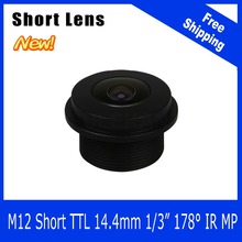 Megapixel Lens For WIFI Camera/Car Camera/Peephole/Webcam/Portable Camera 178 Degree Short Length 1/3 inch 2.1mm Free Shipping