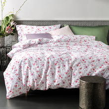 CHAUSUB Floral Silk Bed Linens Satin Cotton Bedding Set 4PCS Duvet Cover Bed Cover Sheets pillowcase bed-clothes King Queen Size