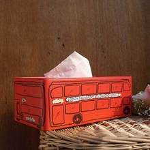 New Creative Vintage Home Decor Zakka England London Bus Tissue Box Extraction Box Tin 25cm*13cm*9.5cm Removable Tissue Box(China)