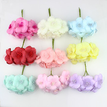 6cm 6pieces Fabric Artificial camellia flower Bouquet,silk poppy Plum stamen fake flowers for wedding Scrapbooking decoration
