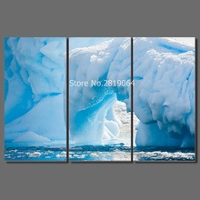 Fashion Cool blue 3 pcs living room Decoration glacier iceberg Canvas printed Painting wall art pictures home decor unframed