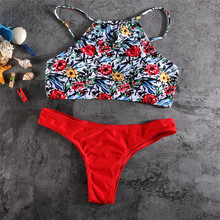 2017 new women swimwear bikini swimsuit  high quality print red color flower