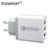 Buy KONSMART 30W Quick Charge 3.0 USB Power Adapter iPhone iPad Samsung Xiaomi LG HTC Mobile Phones QC3.0 Euro/US Travel Charger for $8.25 in AliExpress store