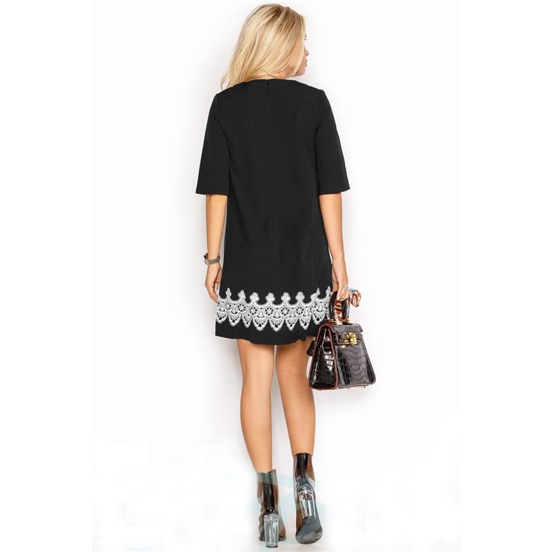 Summer Dress 2018 Women Fashion Casual Mini Lace Dress Black White Short Sleeve O-Neck Beach T Shirt Dresses Plus Size 4