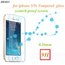 Hczci new 2pcs/Lot Arc 0.26mm For iphone 5s Tempered Glass Phone screen saver 2.5D for iPhone6s 6 plus protective film