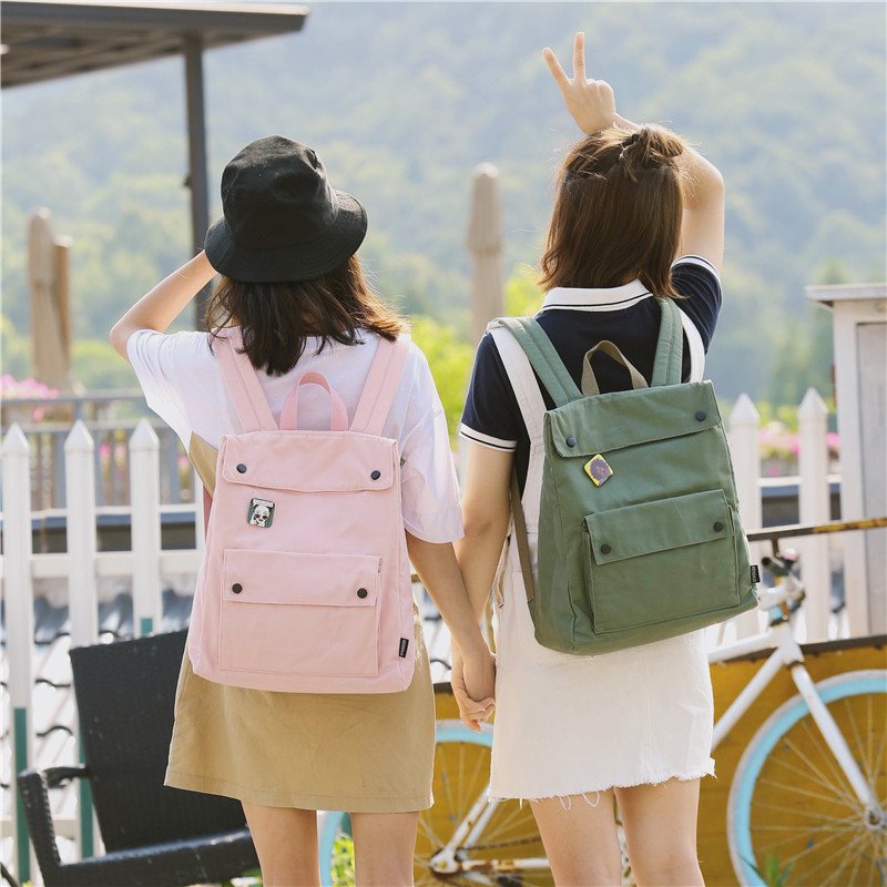 Menghuo Brand Female Women Canvas Backpack Preppy Style School Lady Girl Student School Laptop Bag Cotton Fabric bolsasIZMG4343